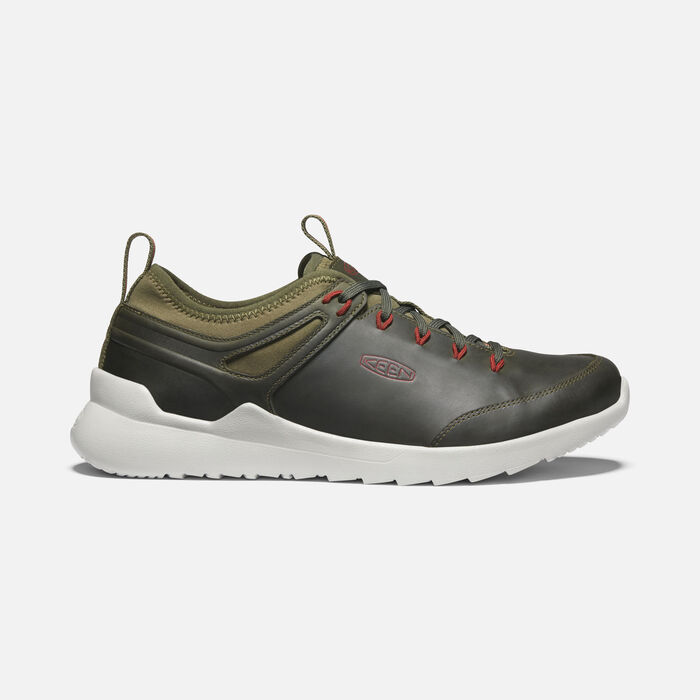 Men's Highland Leather Casual Trainers in Green Lake/Silver Birch - large view.