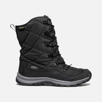 Women's Terradora Lace Waterproof Winter Boots in BLACK/STEEL GREY - large view.