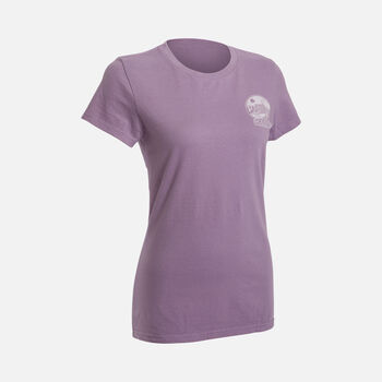 Women's 'Mountains to Sea' T-Shirt in Eggplant - large view.