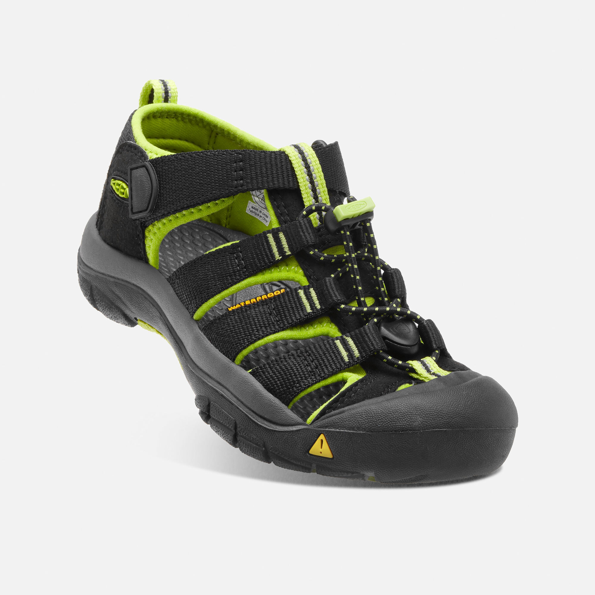 Little Kids  Newport H2 in BLACK LIME GREEN - small view. de3447541