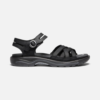 WOMEN'S RIALTO II NAPLES LEATHER HIKING SANDALS in BLACK/STEEL GREY - large view.