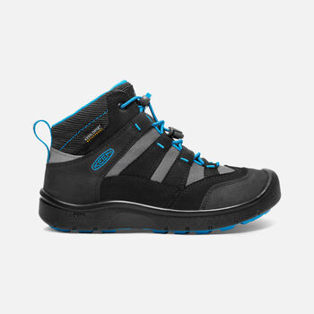 Older Kids' Hikeport Mid Waterproof Hiking Boots in Black/Blue Jewel - large view.