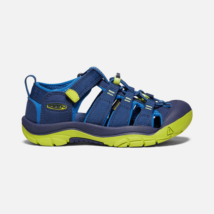 Big Kids' Newport H2 in Blue Depths/Chartreuse - large view.