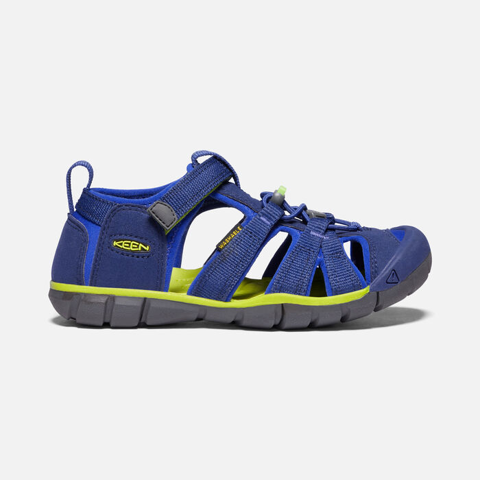 Younger Kids' Seacamp II Cnx Sandals in Blue Depths/Chartreuse - large view.
