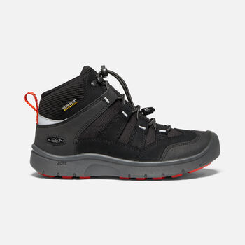 Older Kids' Hikeport Mid Waterproof Hiking Boots in BLACK/BRIGHT RED - large view.