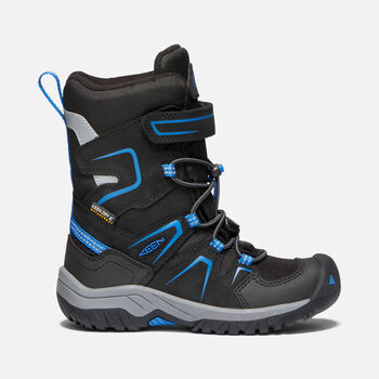Younger Kids' LEVO Waterproof Winter Boots in BLACK/BALEINE BLUE - large view.