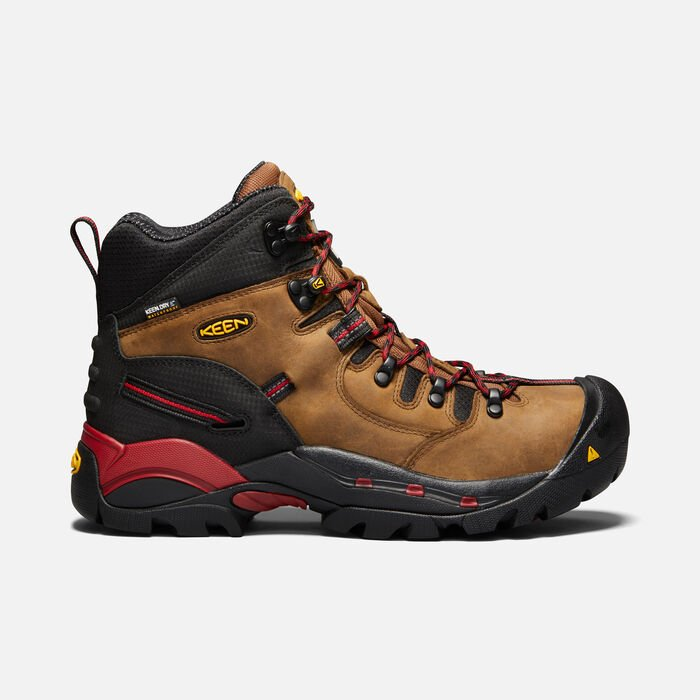 Men's CSA Hamilton Waterproof Boot (Carbon-Fibre Toe) in BISON/JESTER RED - large view.