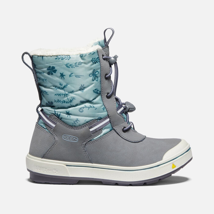Older Kids' Kelsa Tall Waterproof Winter Boots in Magnet/Chinois Green - large view.