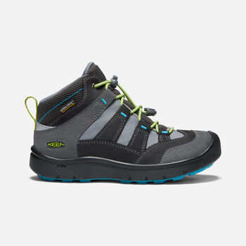 OLDER KIDS' HIKEPORT MID WATERPROOF HIKING BOOTS in MAGNET/GREENERY - large view.