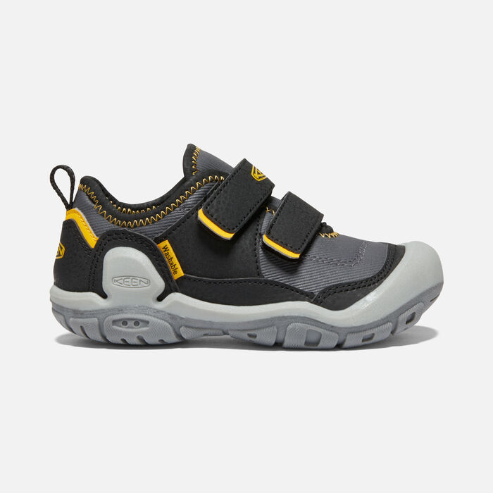 Big Kids' Knotch Hollow Double Strap Sneaker in Black/KEEN Yellow - large view.