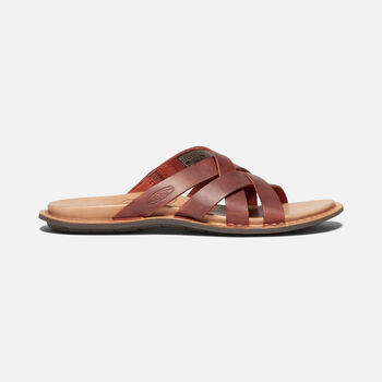 WOMEN'S SOFIA SLIDE CASUAL LEATHER MULE SANDALS in PICANTE/MULCH - large view.