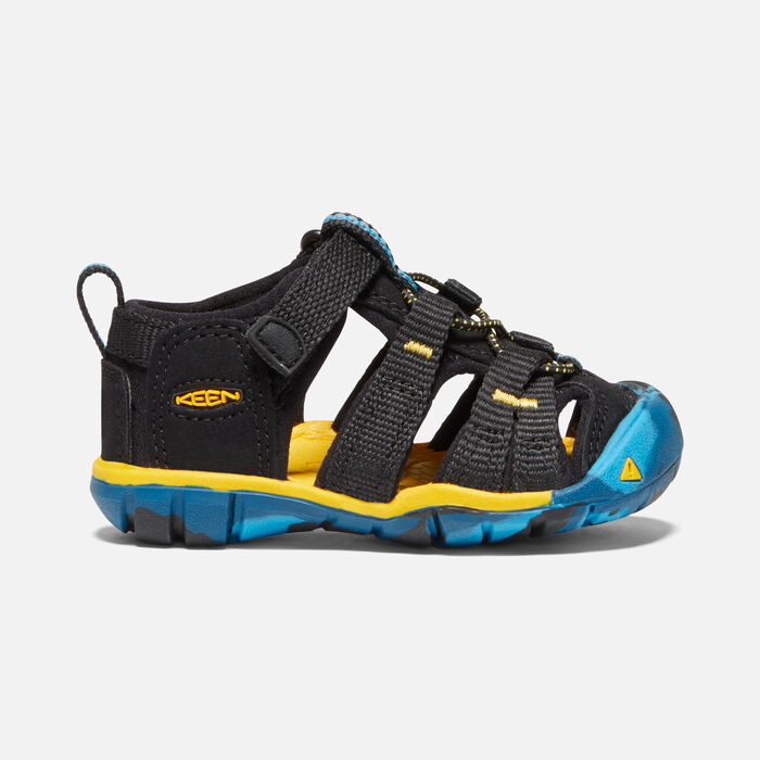 Toddlers' Seacamp II Cnx Sandals in Black/KEEN Yellow - large view.