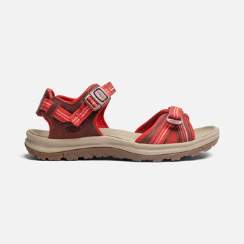 Women's Terradora II Open Toe Leather Sandals in Dark Red/Coral - large view.