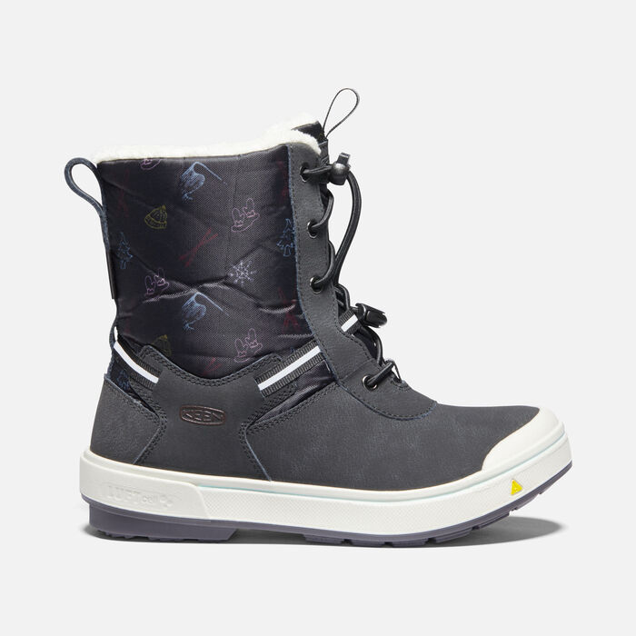 Older Kids' Kelsa Tall Waterproof Winter Boots in Black/Tibetan Red - large view.