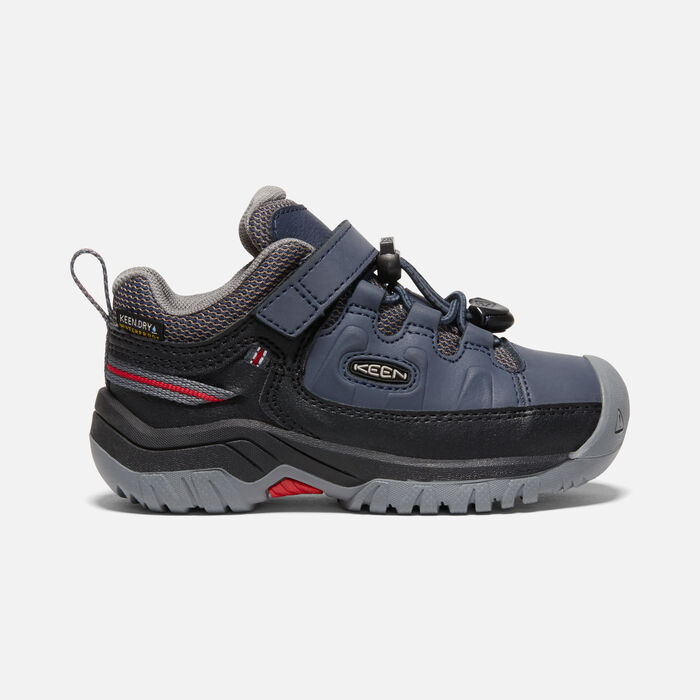 Younger Kids' Targhee Waterproof Hiking Shoes in Blue Nights/Red Carpet - large view.