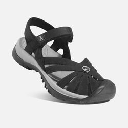 Women's Rose Sandal in Black/Neutral Gray - small view.