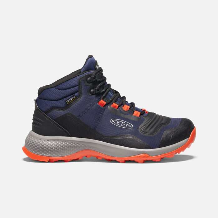 Men's Tempo Flex Waterproof Hiking Trainer Boots in Black Iris/Orange - large view.