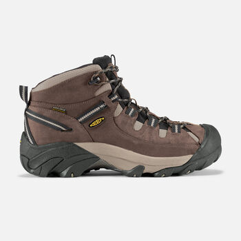 Men's Targhee II Waterproof Wide Fit Mid Hiking Boots in Shitake/Brindle - large view.
