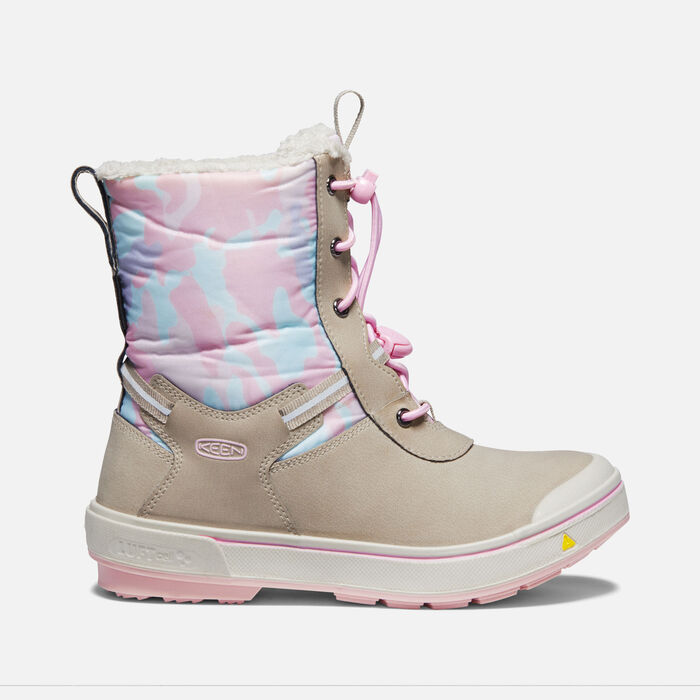 Older Kids' Kelsa Tall Waterproof Winter Boots in Plaza Taupe/Pink Blush - large view.