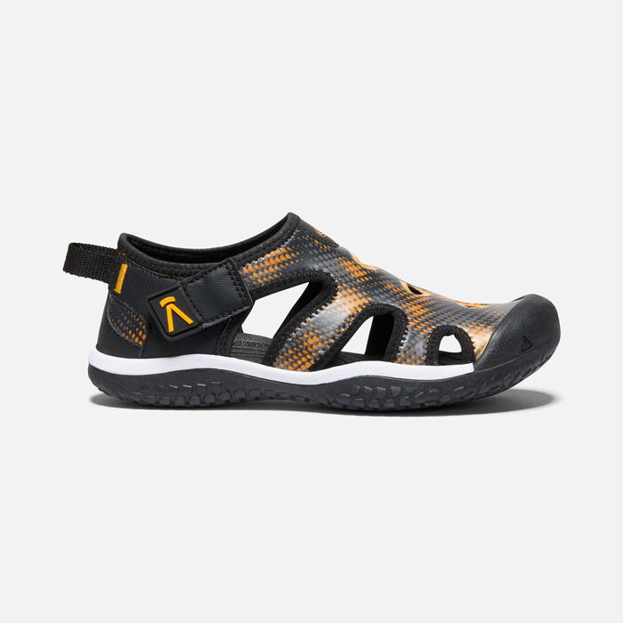 Big Kids' Stingray Sandal in Black/Saffron - large view.