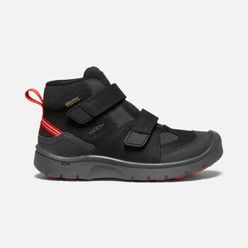 Older Kids' Hikeport Strap Waterproof Mid Hiking Boots in BLACK/BRIGHT RED - large view.