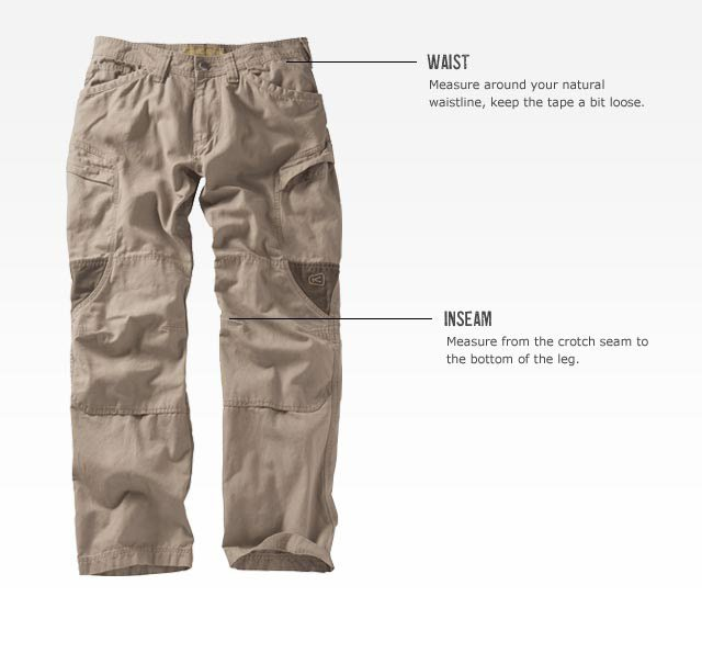 KEEN measuring guide - Men's Bottoms