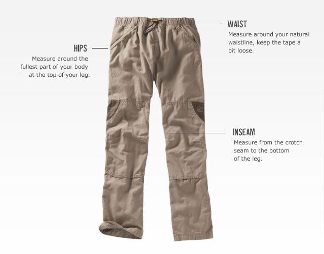 KEEN measuring guide - Women's Bottoms